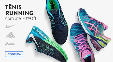 Tênis running com até 70% off