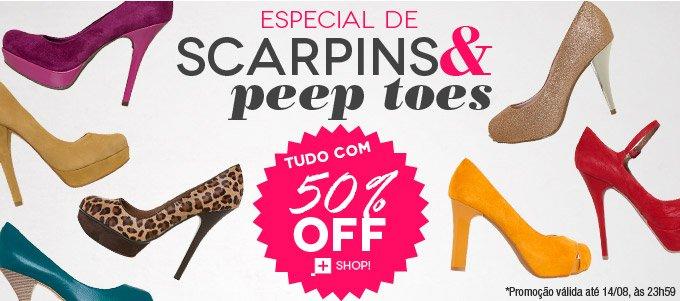 51c1ae3787 A Dafiti está com uma promoção de 50% de desconto em Scarpins e Peep Toes.  Diversos modelos