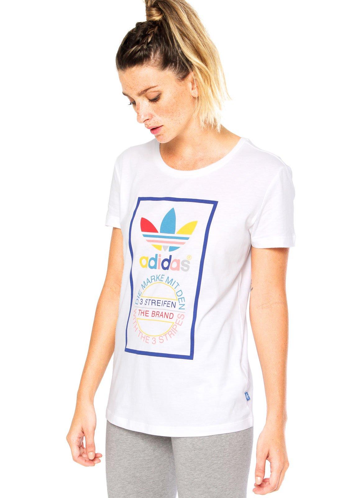 7eb7d74b3e6 Camiseta Manga Curta adidas Originals Tongue Label Slim Branca - Compre  Agora