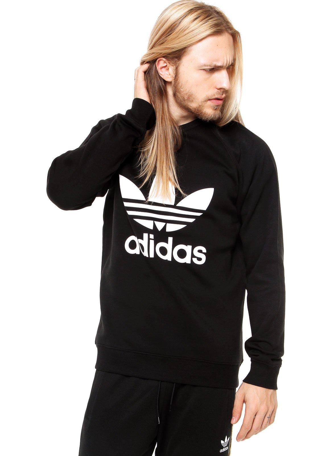 7872583434 Moletom adidas Originals Trefoil Flee Crew Preto - Compre Agora ...