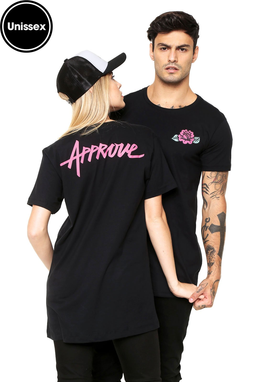 496c2ec16 Camiseta Unissex Blind Love Manga Curta Rose Long Fit Preta - Compre Agora  | Kanui Brasil