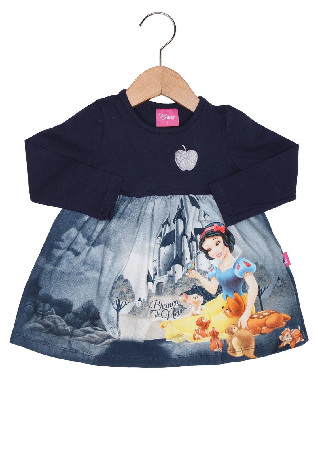 9eb6181d73d336 Vestido Brandili Disney Manga Longa Baby Menina Princesas Azul
