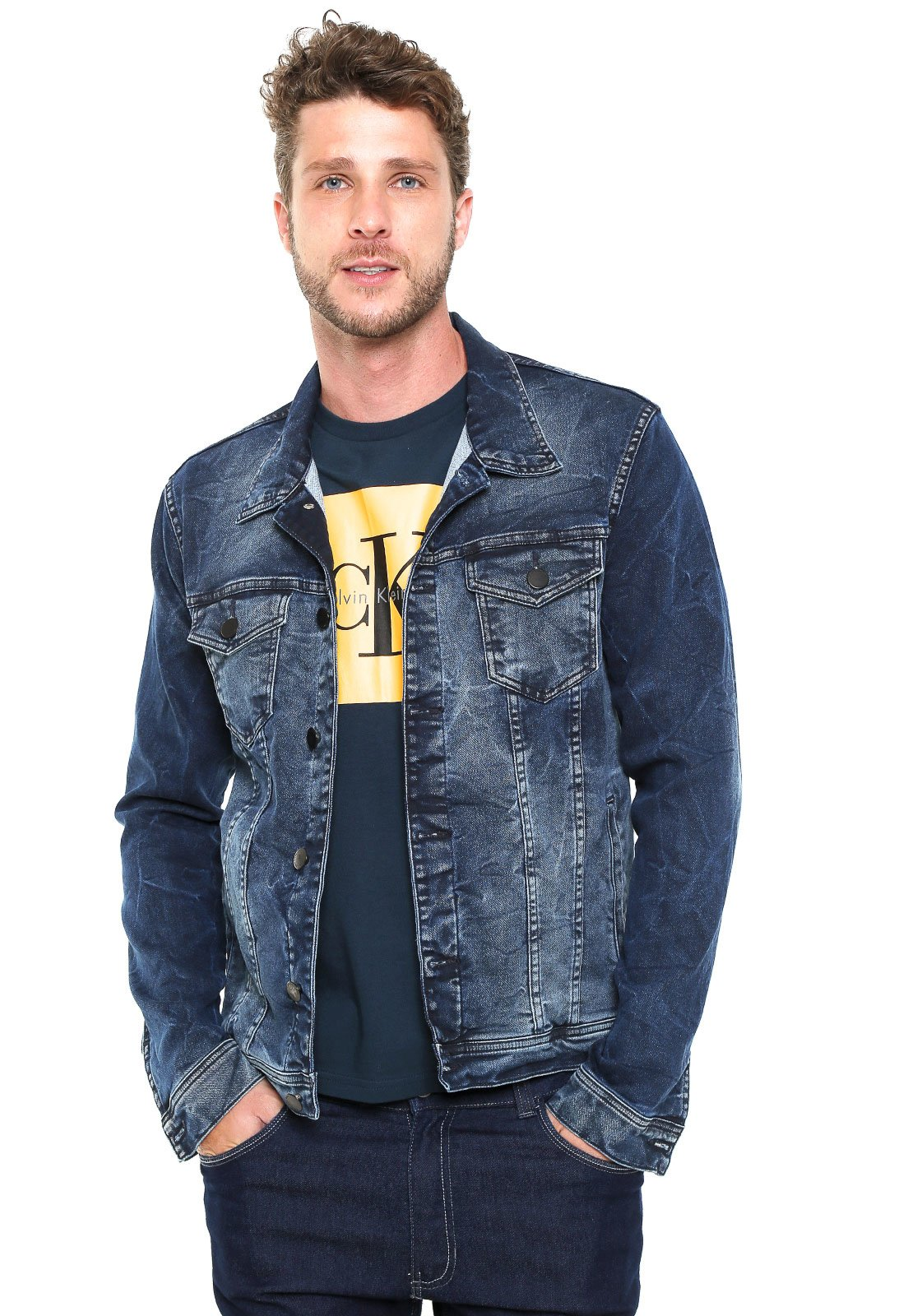 42e88f931 Calvin Klein Jeans. Jaqueta Jeans Calvin Klein Jeans Lavagem Azul