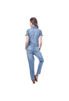 Macacão Jeans Básico Azul