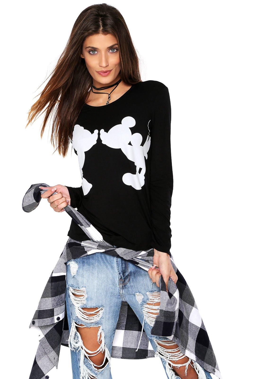 Blusa Cativa Mickey e Minnie Preta - Compre Agora  e4abfc8cb56