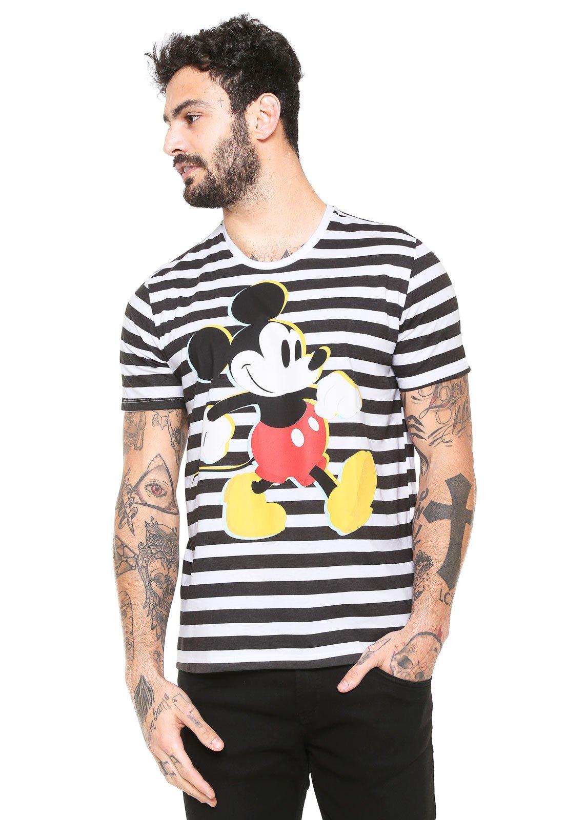 e38c056ca Camiseta Cativa Disney Mickey Branca Preta - Compre Agora