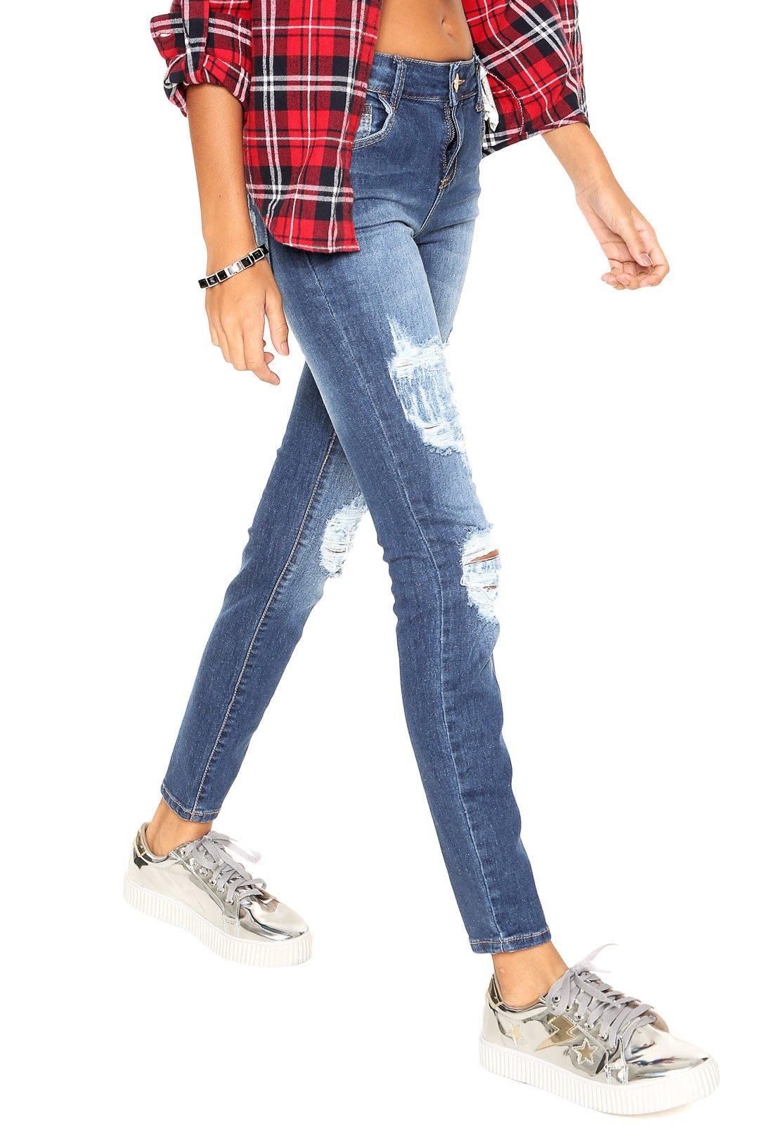 930b5ee7f Calça Jeans Coca-Cola Jeans Skinny Destroyed Azul - Marca Coca-Cola Jeans  ...