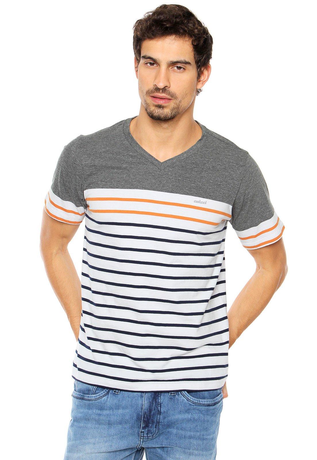 ba850dfe89 Camiseta Colcci Listrada Cinza Branca - Compre Agora