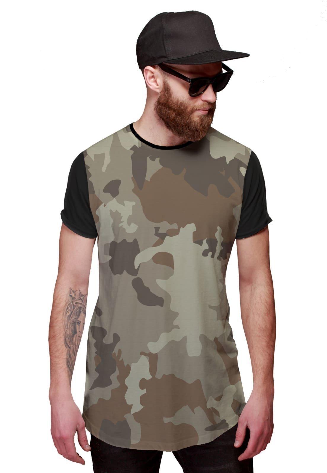 cf11ae2784 Camiseta Di Nuevo Longline Camuflada Clara Exército Swag Preta - Compre  Agora