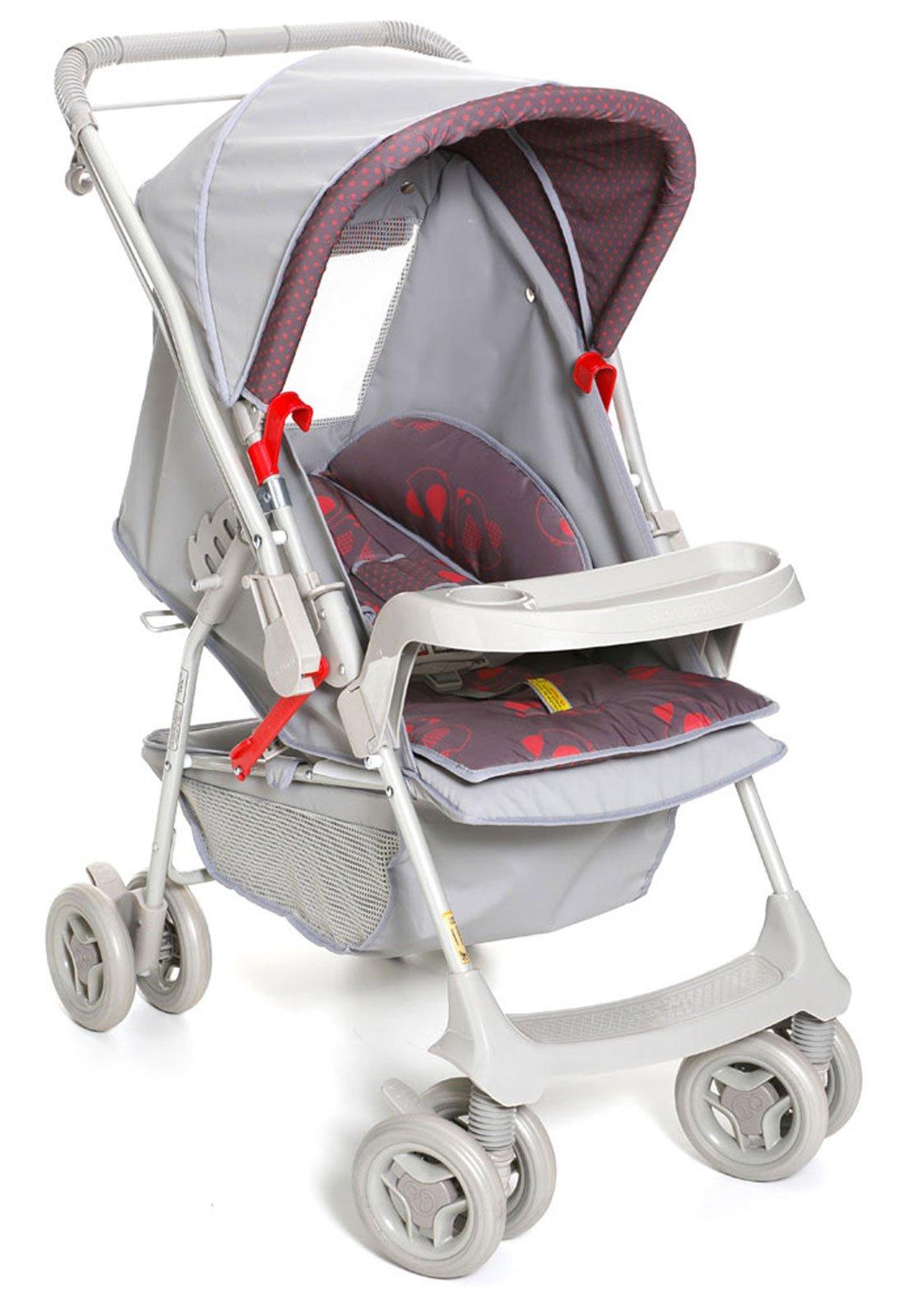 f04887082c Carrinho De Bebê Galzerano Milano Reversível Cinza E Vermelho - Compre  Agora
