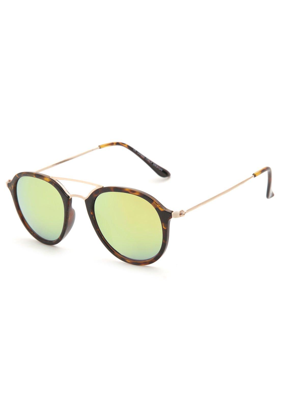 Óculos de Sol Khatto Redondo Tartaruga Marrom Amarelo - Compre Agora    Kanui Brasil fdc7d55365