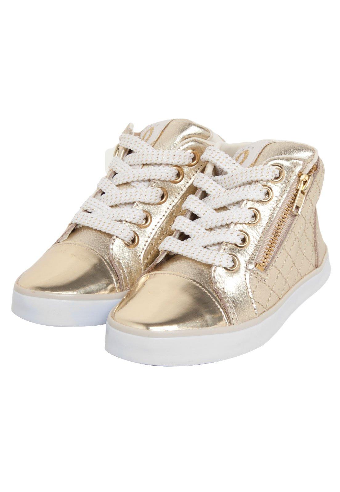 Tênis Couro Lilica Ripilica Infantil Glam Dourado Off-White. - Compre Agora   bb7df33ba229f