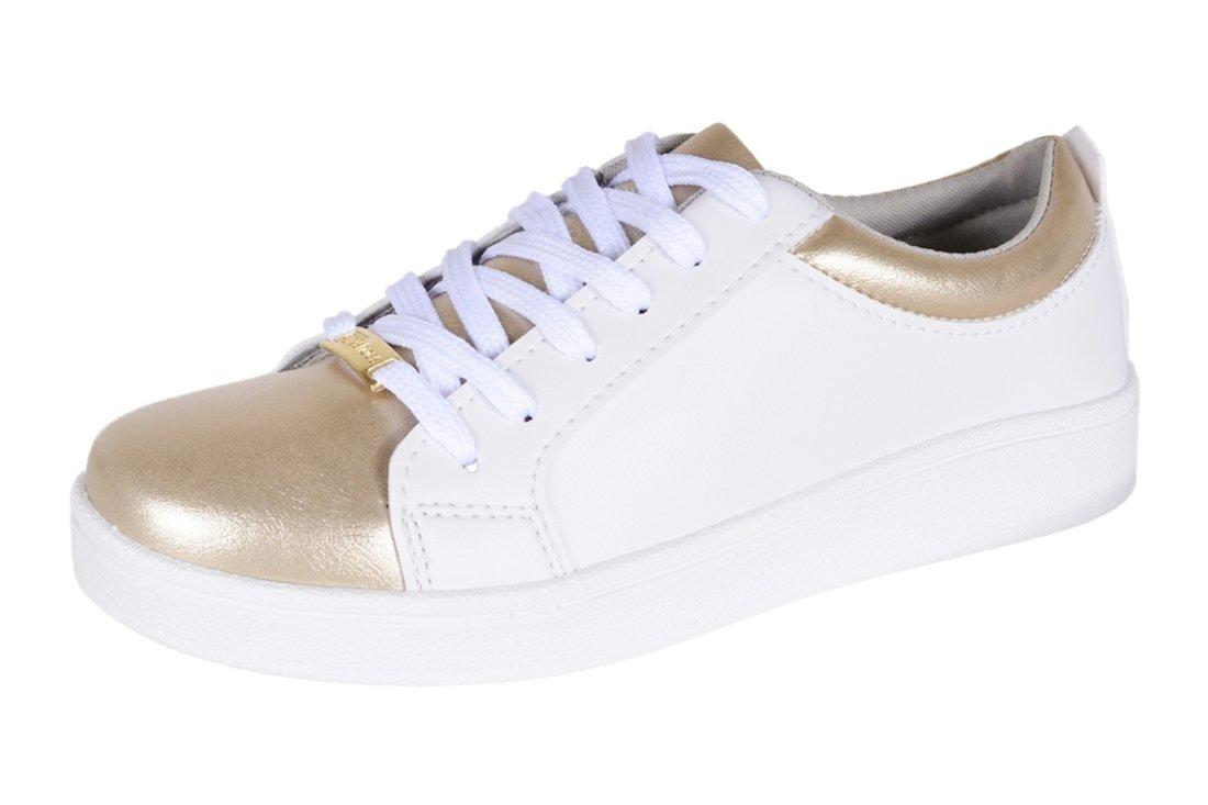 5e870d42db Magi Shoes. Tênis Magi Shoes Liso Branco Dourado