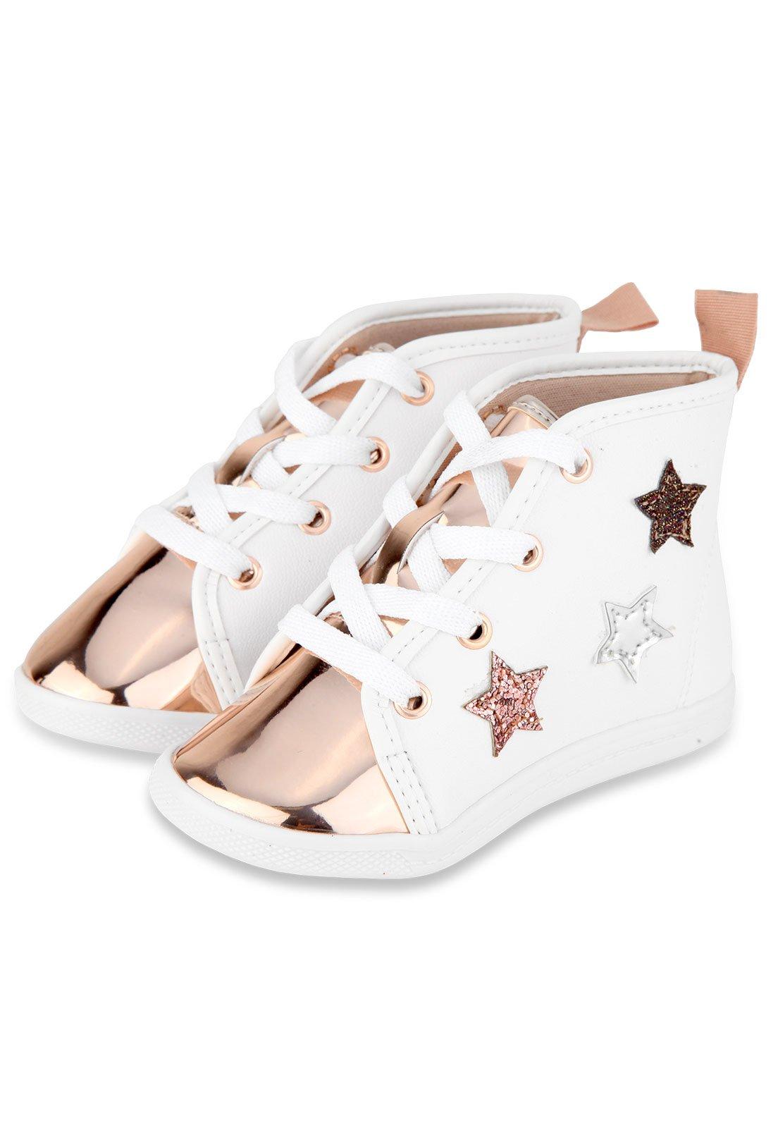 496b060c3b2 Tênis Molekinha Infantil Estrelas Branco Rosê - Compre Agora ...