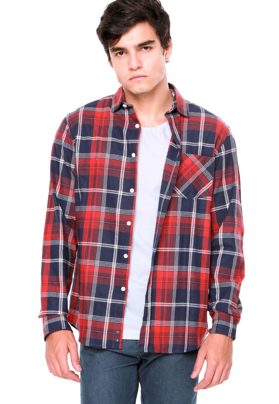 8ab2137340 Mr Kitsch. Camisa Mr Kitsch Xadrez Vermelha Azul