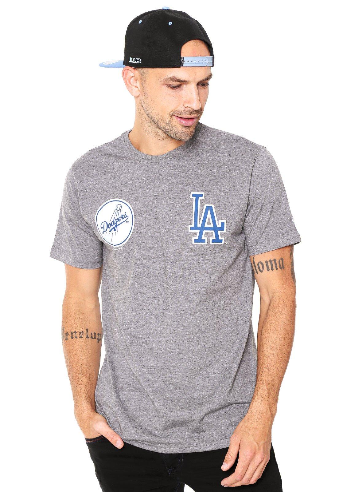 Camiseta New Era Logo Los Angeles Dodger Cinza - Compre Agora ... 5b1e388621c
