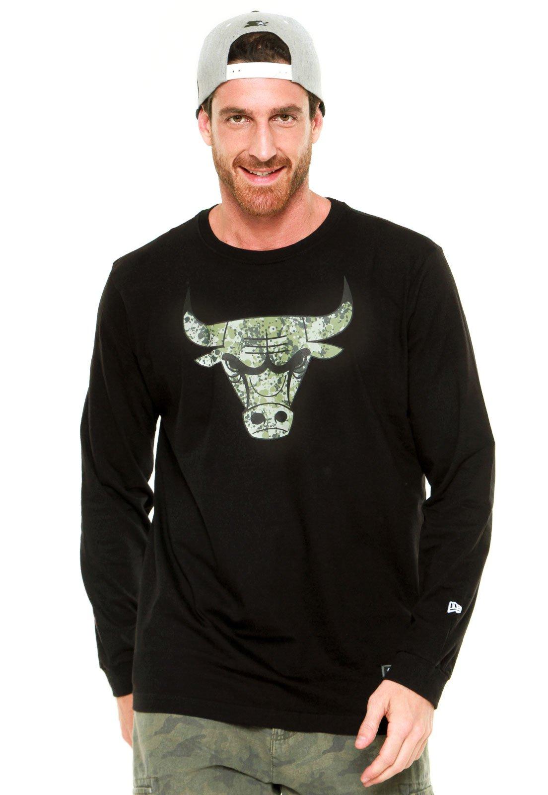 Camiseta New Era Polka Camu Chicago Bull Preta - Compre Agora ... d6cfcc24260