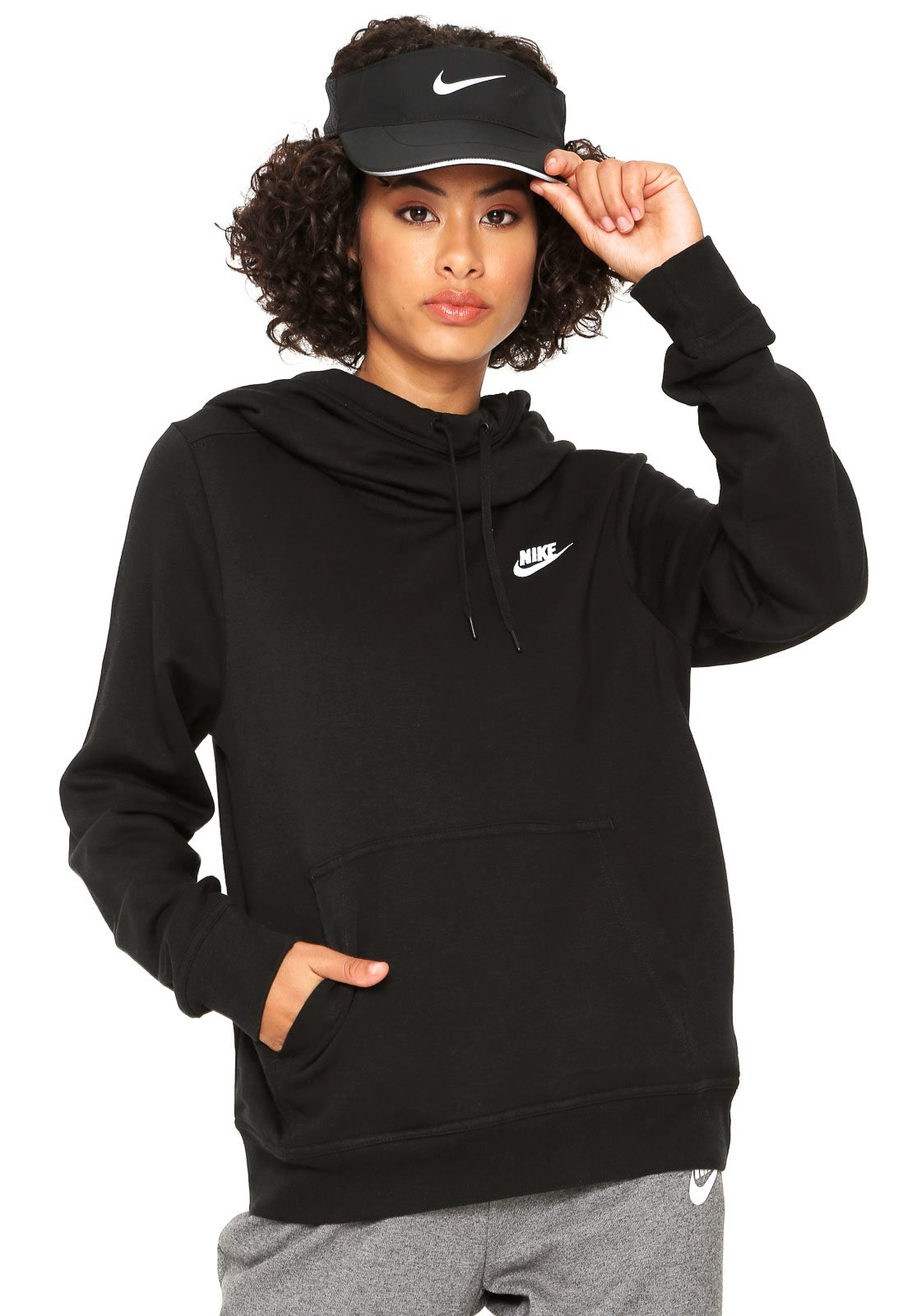 e7f71bf234 Moletom Flanelado Fechado Nike Sportswear W NSW FNL FLC Preto - Compre  Agora