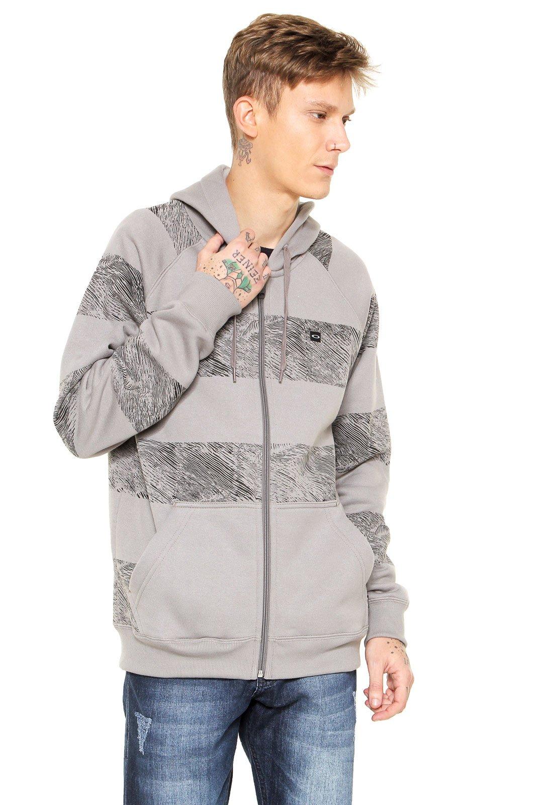 Moletom Aberto Oakley Ocean Stripe Fleece Cinza - Compre Agora ... 36fabf1a55e