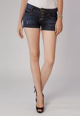 Shorts Jeans Pespontos Azul