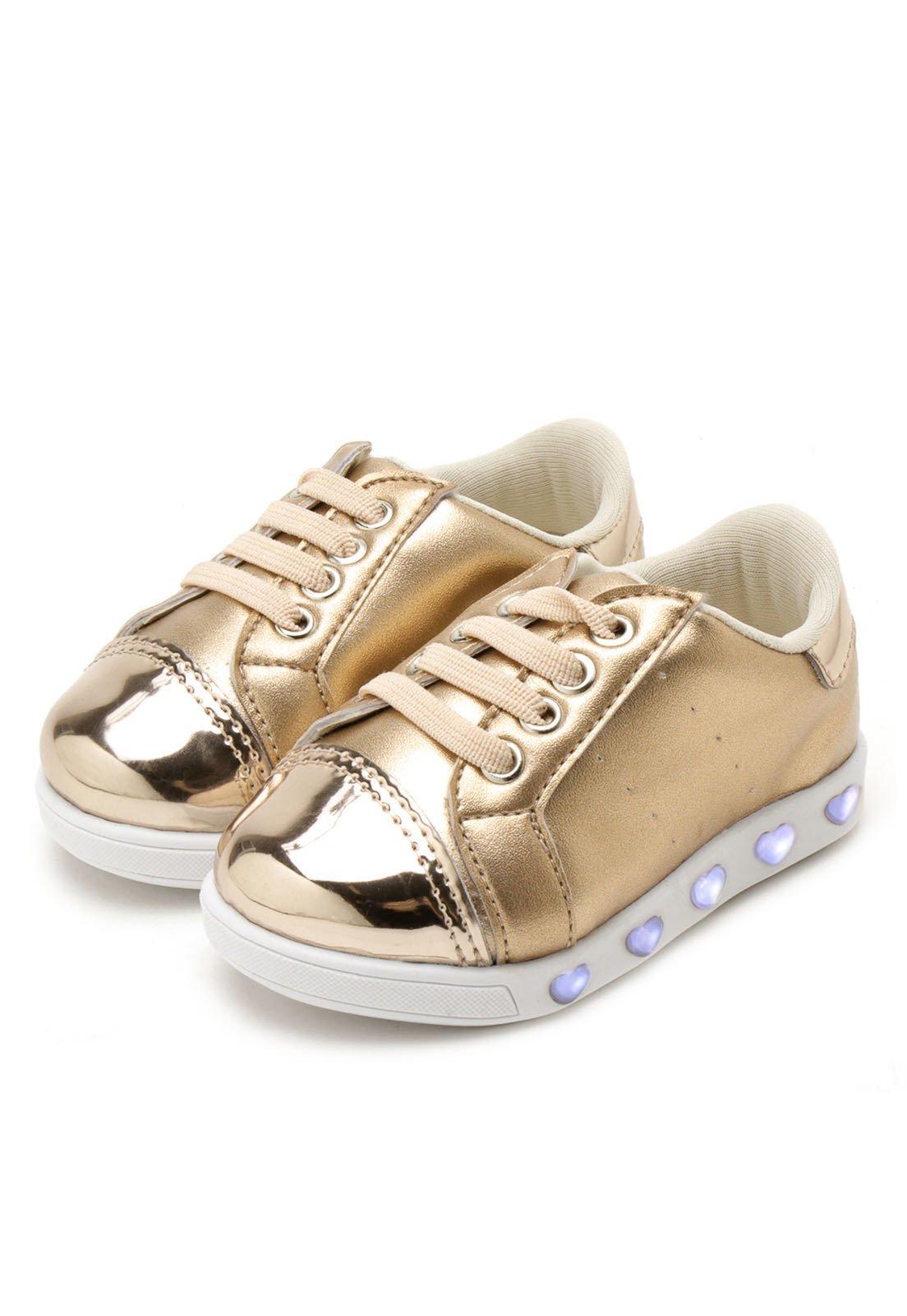 a816b3484 Tênis Casual Pampili Menina Sneaker Luz Dourado - Compre Agora ...