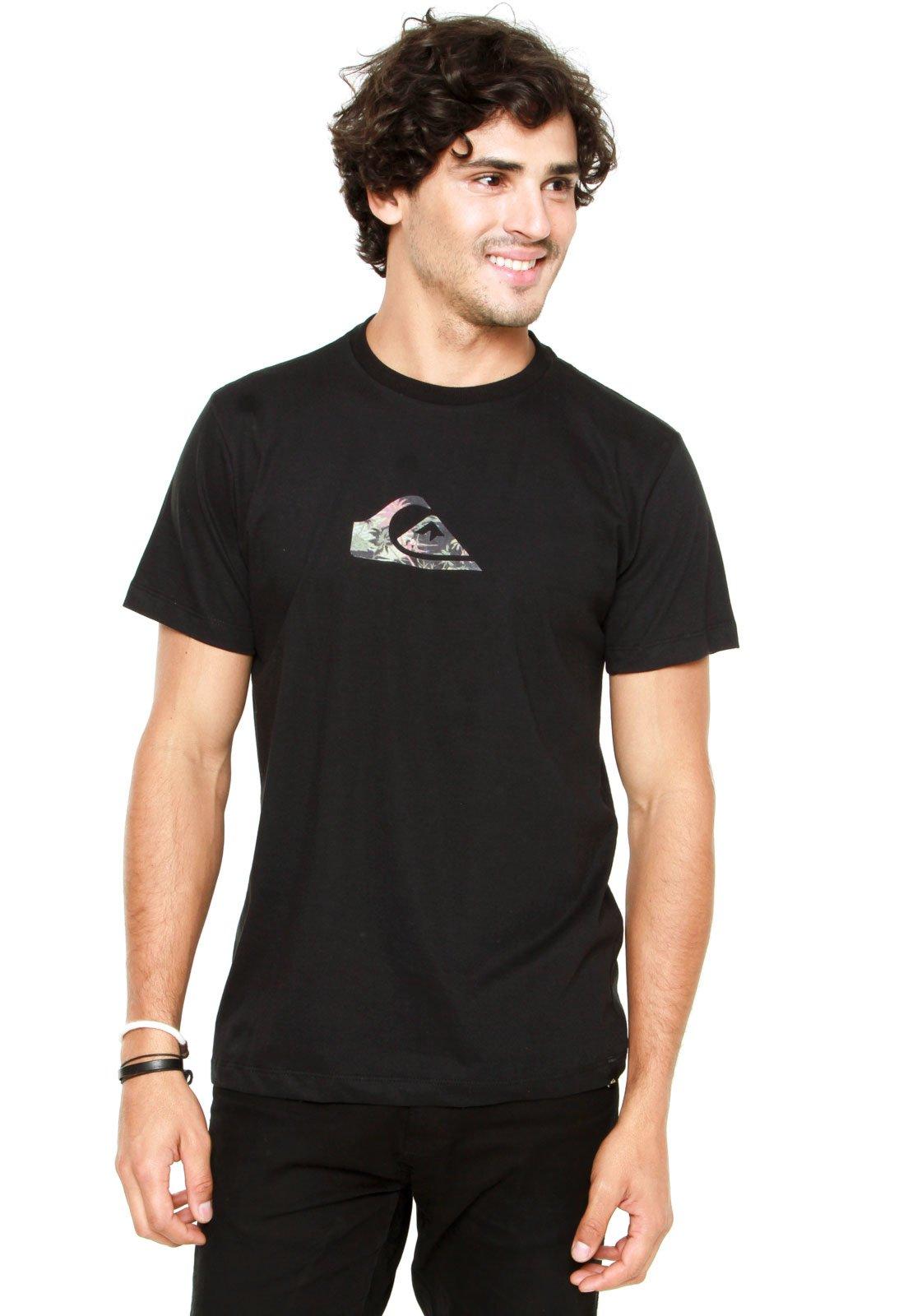 0a32338e75605 Camiseta Quiksilver Slim Fit Logo Vice P Preta - Compre Agora ...