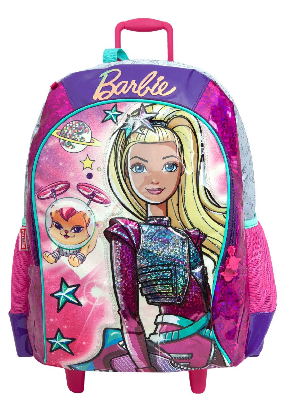fe552b99d Mochila de Rodinhas Sestini Infantil Barbie Aventura nas Estrelas  Rosa/Roxa/Prata - Compre Agora | Tricae Brasil