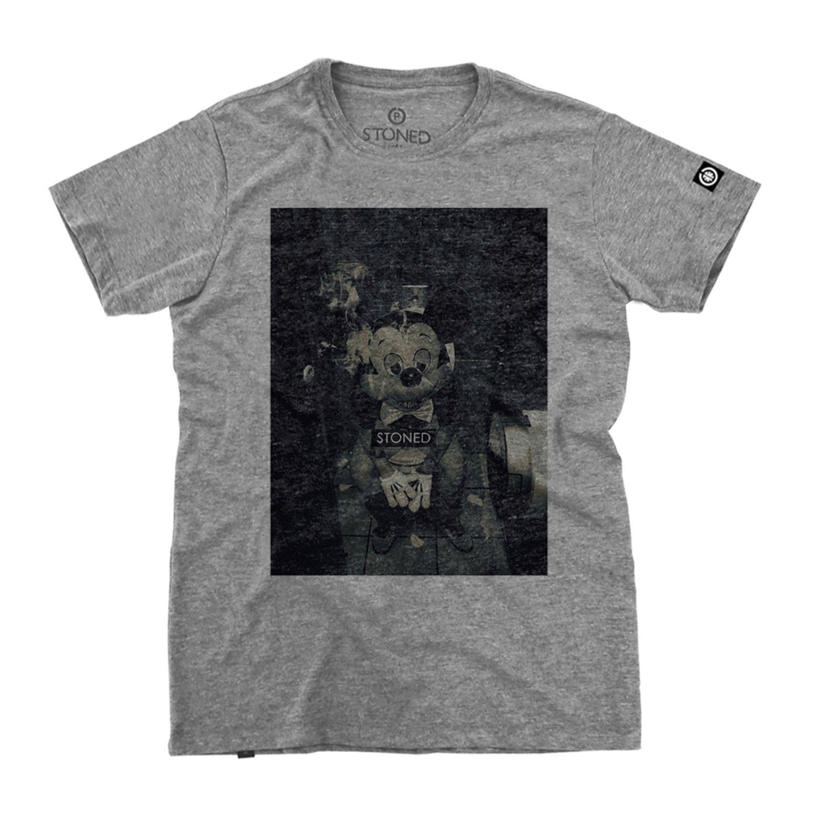 ea8683f90ad7d Camiseta Manga Curta Stoned Stoned Mickey Cinza - Compre Agora ...