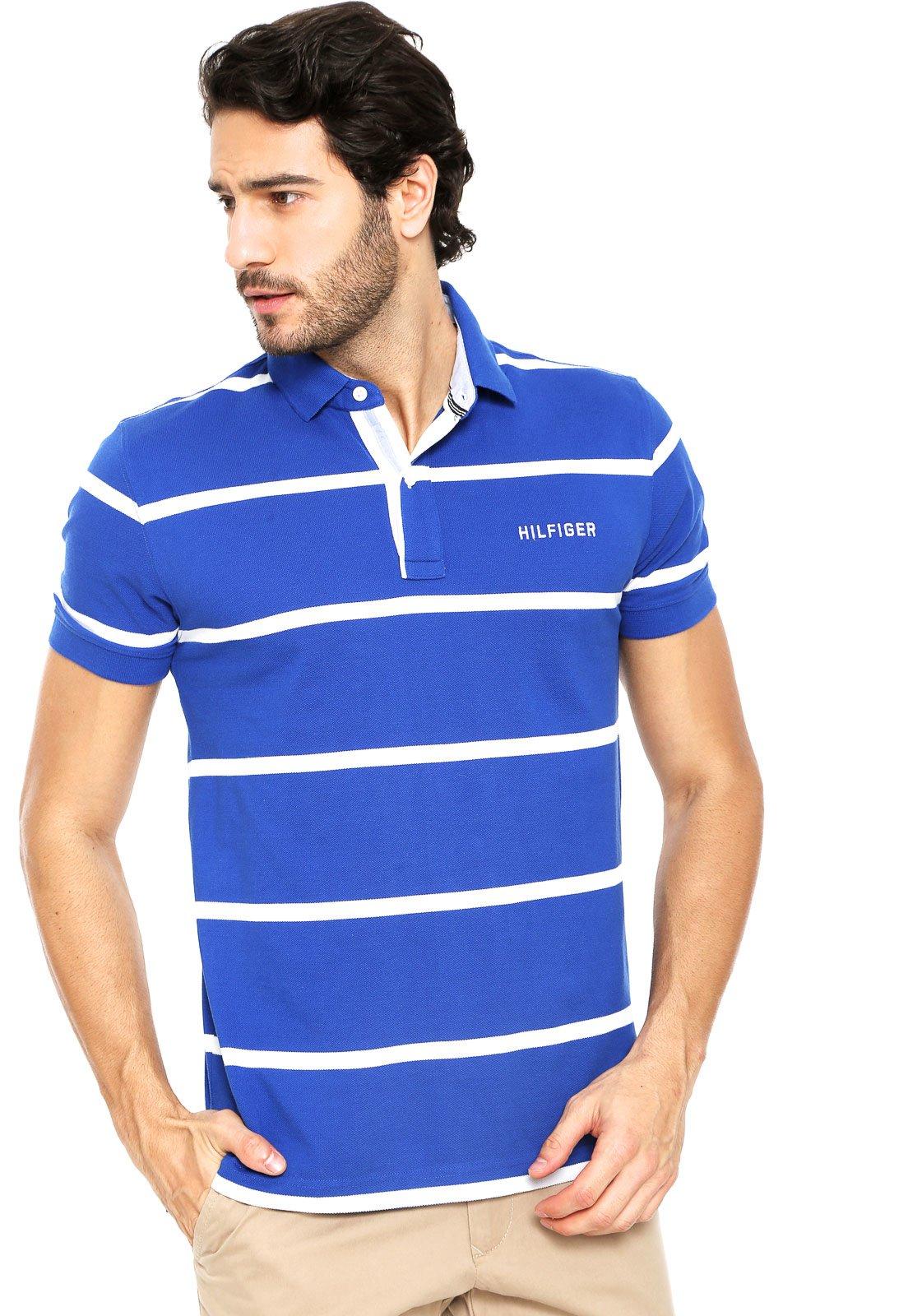 83fd5d8435 Camisa Polo Tommy Hilfiger Listras Azul - Compre Agora