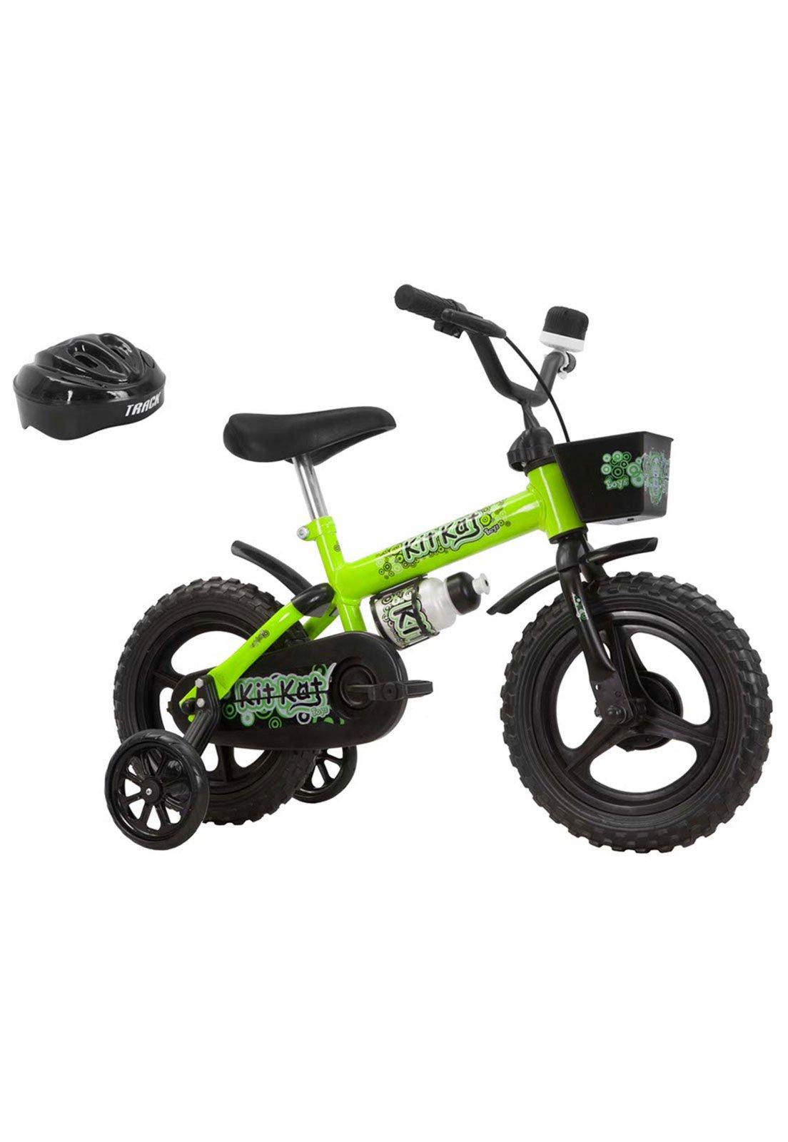 4a4c9c668 Bicicleta Aro 12 Kitkat Com Capacete Amarelo-Neon Track   Bikes - Compre  Agora