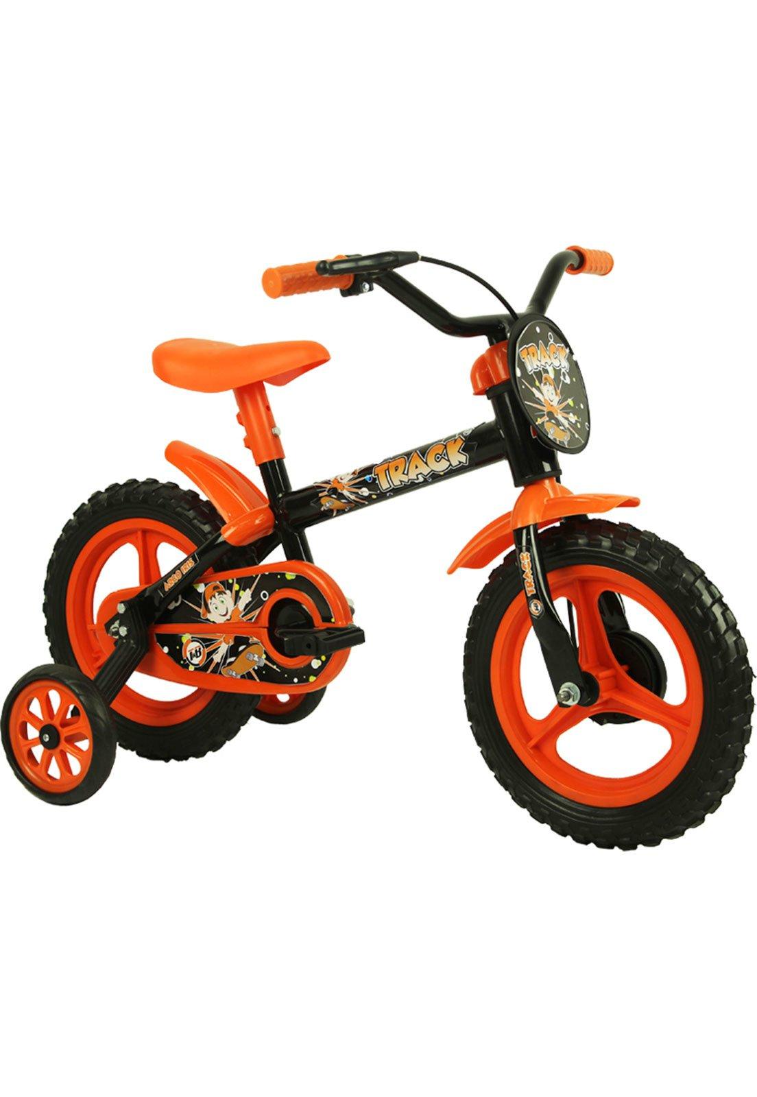 3b2bd687d Bicicleta Aro 12 Tk Preto e Laranja Track Bikes - Compre Agora ...