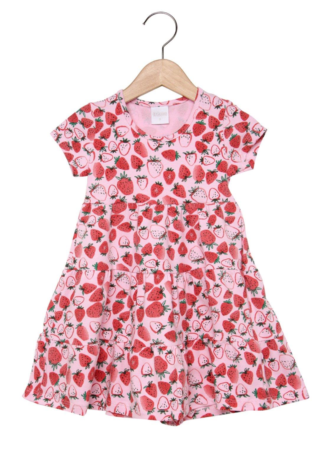 dc800f1740bac5 Vestido Infantil Tricae Morangos Rosa