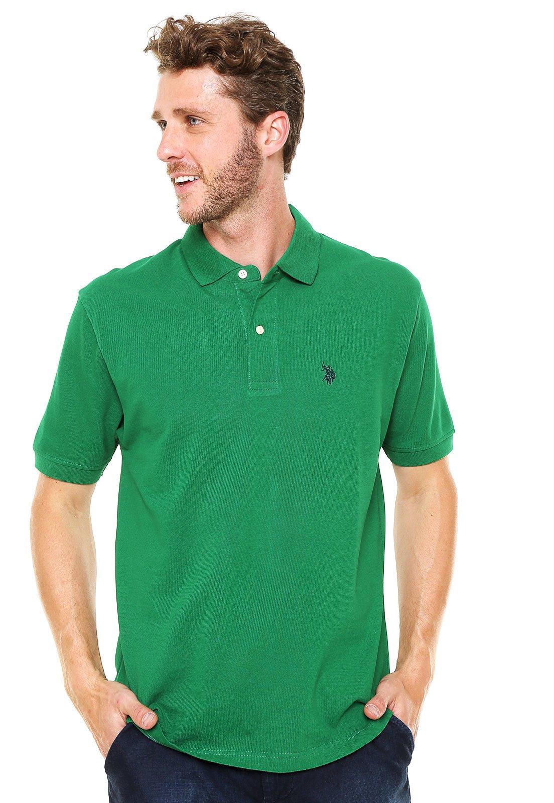 Camisa Polo U.S. Polo Lisa Verde - Marca U.S. Polo ... d3fa0bad9d098