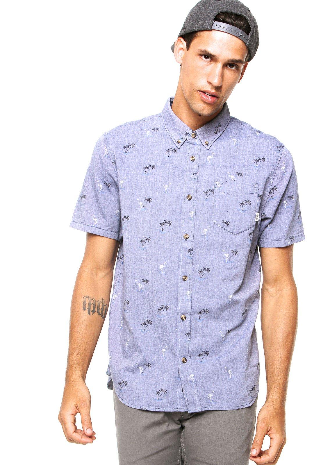 Camisa Sarja Manga Curta Vans Houser Flamingo Azul - Compre Agora ... 32e08bd0ce5