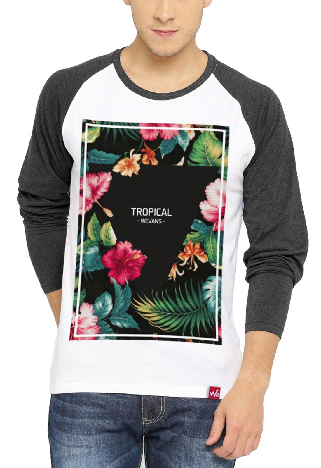 2f13ff5fb1 Camiseta Manga Longa Wevans Floral Tropical Branca - Compre Agora ...