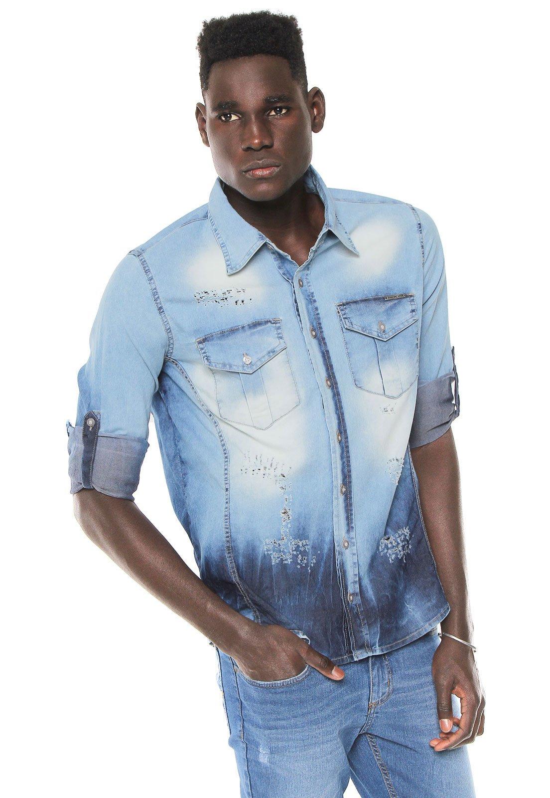 Zune. Camisa Jeans Zune Reta Destroyed Azul c8bfc1ee5fe