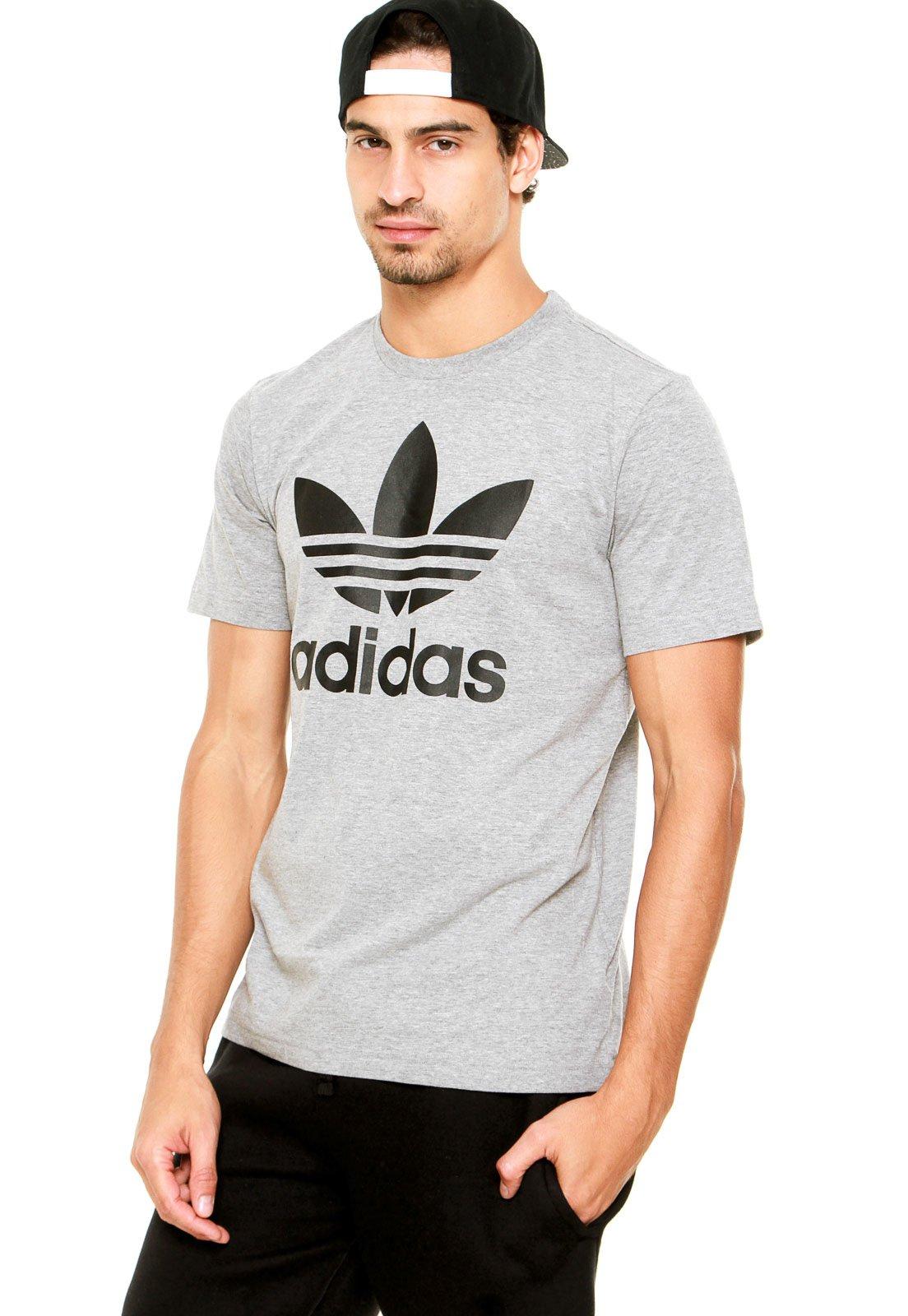 60b6bfc2e59 Camiseta adidas Originals Trefoil Cinza - Compre Agora