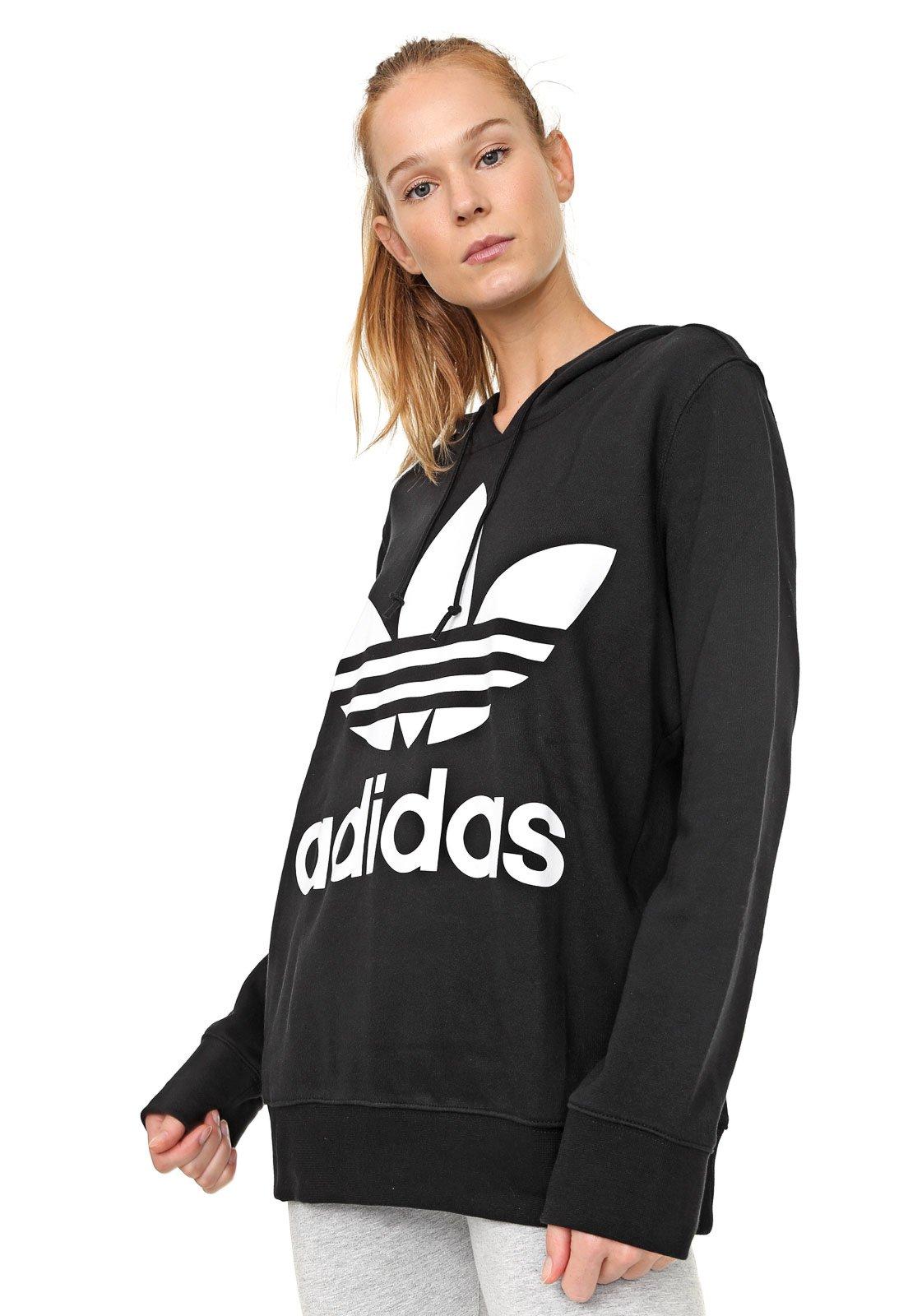 Moletom Fechado adidas Originals Trefoil Hoodie Preto - Compre Agora ... c29ab4015ed16
