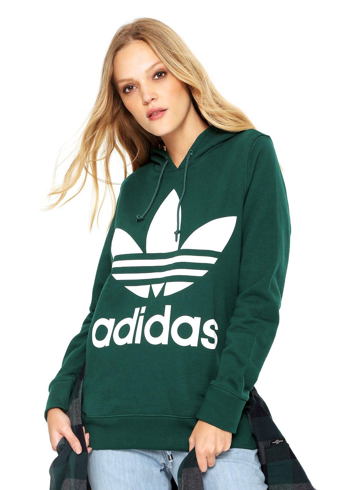 1bc5c3778136e Moletom Fechado adidas Originals Trefoil Hoodie Verde - Compre Agora ...
