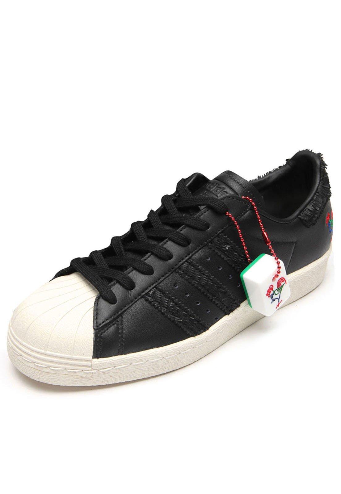9ef61b1ea ... reduced tênis couro adidas originals superstar 80s cny preto branco compre  agora kanui brasil eafef d748c
