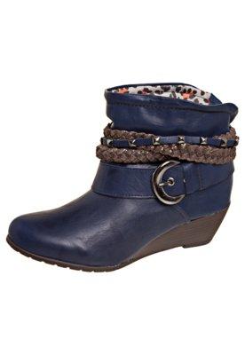 Bota Anabela Cano Curto Tiras Trançadas Azul - Dakota