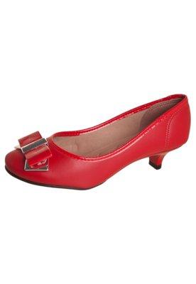 Sapato Scarpin Moleca Laço Detalhe Metalizado Vermelho