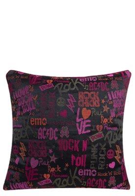 Capa de Almofada Lartex Punk Rock Preta e Rosa