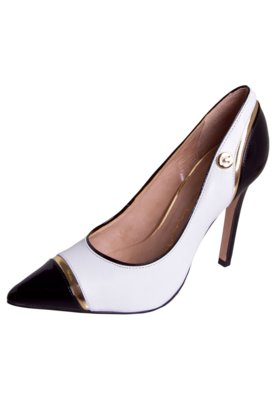 Sapato Scarpin Carmim Bico Fino Cap Toe Branco