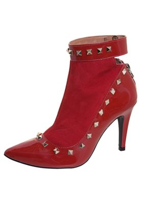 Ankle Boot SPikes Verniz Nobuck Vermelha - Raphaella Booz
