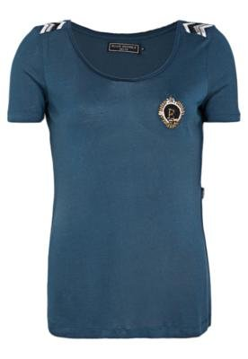 Blusa Ellus Jersey Silk Touch e Embroid Ery Azul