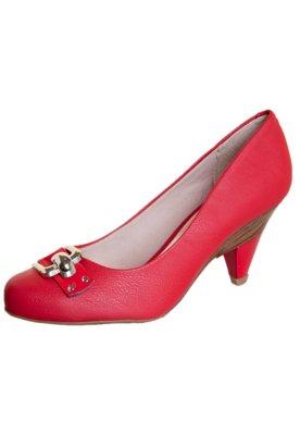 Sapato Scarpin Beira Rio Salto Diferenciado e Tira Vermelho