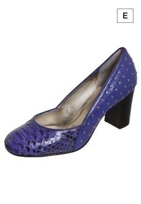 Sapato Scarpin Invitto Phython Box Azul