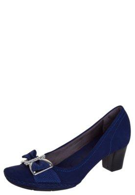 Sapato Scarpin Usaflex Ponto Celeiro Laço Strass Azul