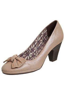 Sapato Scarpin Bottero Salto Baixo Laço Bordado Marrom